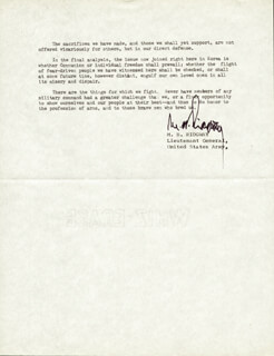 GENERAL MATTHEW B. RIDGWAY - TYPED MANUSCRIPT SIGNED