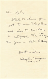 DOUGLAS WRONG WAY CORRIGAN - AUTOGRAPH LETTER SIGNED 02/10/1940