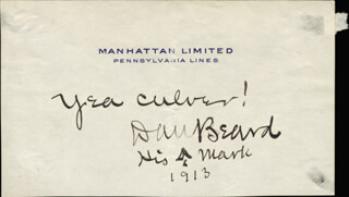 Autographs: DANIEL C. BEARD - AUTOGRAPH NOTE SIGNED 1913