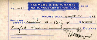 REAR ADMIRAL RICHARD E. BYRD - AUTOGRAPHED SIGNED CHECK 09/14/1931