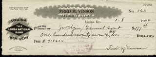 CHIEF JUSTICE FRED M. VINSON - AUTOGRAPHED SIGNED CHECK 01/08/1924