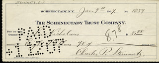 Autographs: CHARLES P. STEINMETZ - CHECK SIGNED 01/07/1907