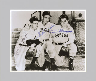 TED WILLIAMS - AUTOGRAPHED SIGNED PHOTOGRAPH CO-SIGNED BY: DOM DIMAGGIO, JOE DIMAGGIO