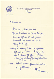 PRESIDENT WILLIAM J. BILL CLINTON - AUTOGRAPH LETTER SIGNED 08/26