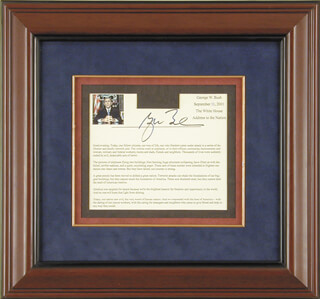 PRESIDENT GEORGE W. BUSH - PRINTED SPEECH SIGNED IN INK