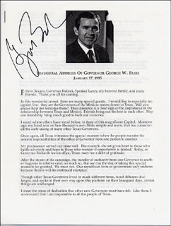 PRESIDENT GEORGE W. BUSH - SPEECH SIGNED CIRCA 1995