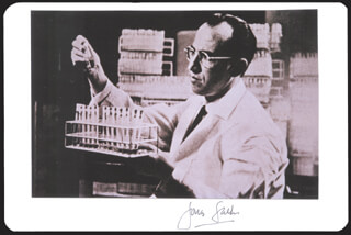 DR. JONAS SALK - PHOTOGRAPH MOUNT SIGNED