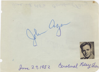 JOHN AGAR - AUTOGRAPH CIRCA 1952 CO-SIGNED BY: ORRIN TUCKER