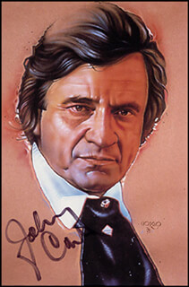 JOHNNY CASH - ILLUSTRATION SIGNED  - HFSID 268444