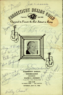 Autographs: ROCKY GRAZIANO - PROGRAM SIGNED CO-SIGNED BY: D. J. PETE PERONE, LOU DELL, SAL CARTA CANATA, GEORGE RUSSO, JOE CASSANO, JIM HIGGINS, ARTHUR B. MCGINLEY, WILLIAM J. LEE, ROLAND ROLLY CHAREST, GEORGE A. DOTY, JOHN W. SHAUGHNESSY, JACK WARNICK, GEORGE CLARK