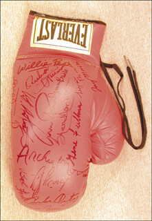 FLOYD PATTERSON - BOXING GLOVE SIGNED CO-SIGNED BY: BOB THE DEPUTY SHERIFF FOSTER, GENE CYCLONE FULLMER, JOEY MAXIM, CARLOS ORTIZ, RUBEN OLIVARES, KEN NORTON, GERRY COONEY, CARMEN BASILIO, VITO ANTUOFERMO, ARCHIE MOORE, WILLIE WILL O' THE WISP PEP, AARON PRYOR, JOSE CHEGUI TORRES, LIVINGSTONE BRAMBLE
