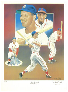 STAN THE MAN MUSIAL - LITHOGRAPH SIGNED CIRCA 1989 CO-SIGNED BY: CHRISTOPHER PALUSO