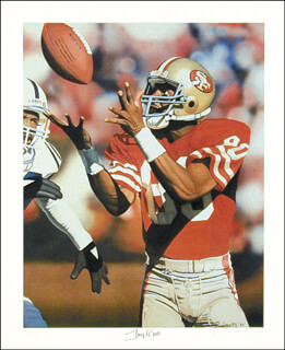 JERRY RICE - LITHOGRAPH SIGNED CIRCA 1989 CO-SIGNED BY: DANIEL M. SMITH