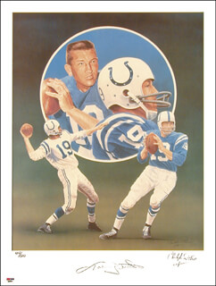 JOHNNY UNITAS - LITHOGRAPH SIGNED CIRCA 1990 CO-SIGNED BY: CHRISTOPHER PALUSO