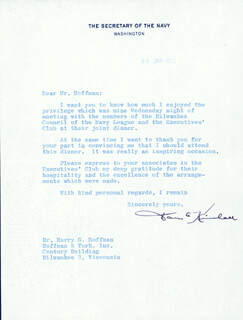 DAN KIMBALL - TYPED LETTER SIGNED 01/29/1952
