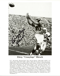 ELROY CRAZY LEGS HIRSCH - BOOK PHOTOGRAPH SIGNED