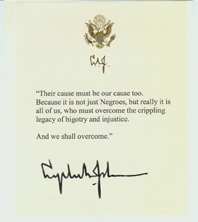PRESIDENT LYNDON B. JOHNSON - QUOTATION SIGNED