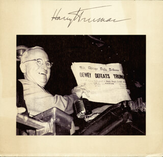 Autographs: PRESIDENT HARRY S TRUMAN - PRINTED ILLUSTRATION SIGNED IN INK