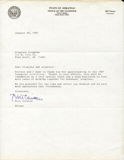 PRESIDENT WILLIAM J. BILL CLINTON - TYPED LETTER SIGNED 01/28/1987