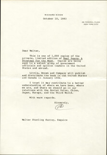 PRESIDENT RICHARD M. NIXON - TYPED LETTER SIGNED 10/10/1983