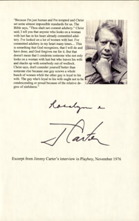 PRESIDENT JAMES E. JIMMY CARTER - TYPESCRIPT SIGNED CIRCA 1976 CO-SIGNED BY: FIRST LADY ROSALYNN CARTER