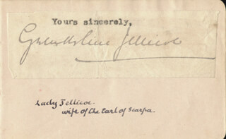 Autographs: LADY FLORENCE GWENDOLINE CAYZER JELLICOE - TYPED SENTIMENT SIGNED
