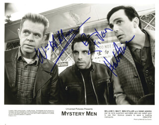 MYSTERY MEN MOVIE CAST - AUTOGRAPHED SIGNED PHOTOGRAPH 1999 CO-SIGNED BY: WILLIAM H. MACY, BEN STILLER, HANK AZARIA