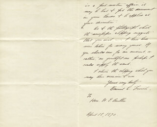 DANIEL CHESTER FRENCH - AUTOGRAPH LETTER SIGNED 04/13/1890