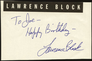 LAWRENCE BLOCK - AUTOGRAPH NOTE SIGNED