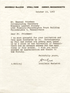 ARCHIBALD MacLEISH - TYPED LETTER SIGNED 10/19/1963