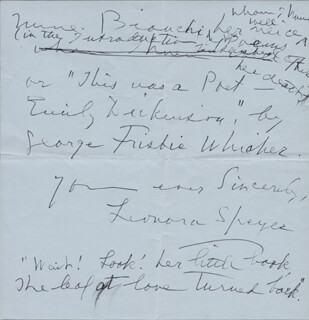 LEONORA SPEYER - AUTOGRAPH LETTER SIGNED 05/11