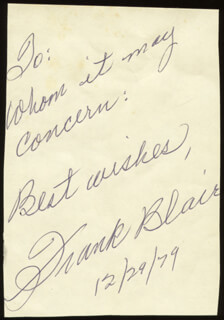 FRANK BLAIR - AUTOGRAPH SENTIMENT SIGNED 12/29/1979