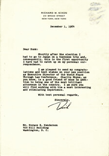 PRESIDENT RICHARD M. NIXON - TYPED LETTER SIGNED 12/01/1964