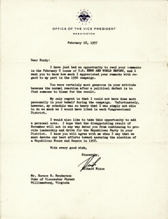 PRESIDENT RICHARD M. NIXON - TYPED LETTER SIGNED 02/18/1957
