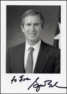 PRESIDENT GEORGE W. BUSH - AUTOGRAPHED INSCRIBED PHOTOGRAPH
