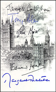 Autographs: PRIME MINISTER TONY BLAIR (GREAT BRITAIN) - BOOK PLATE SIGNED CO-SIGNED BY: PRIME MINISTER JAMES CALLAGHAN (GREAT BRITAIN), PRIME MINISTER EDWARD HEATH (GREAT BRITAIN), PRIME MINISTER JOHN MAJOR (GREAT BRITAIN), PRIME MINISTER MARGARET THATCHER (GREAT BRITAIN)