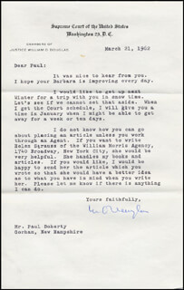 Autographs: ASSOCIATE JUSTICE WILLIAM O. DOUGLAS - TYPED LETTER SIGNED 03/21/1962
