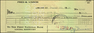 CHIEF JUSTICE FRED M. VINSON - AUTOGRAPHED SIGNED CHECK 12/13/1949