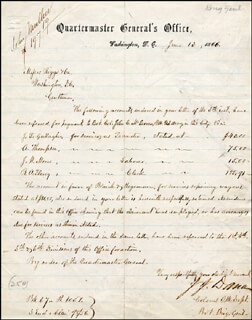 MAJOR GENERAL JAMES J. DANA - MANUSCRIPT DOCUMENT SIGNED 06/13/1866