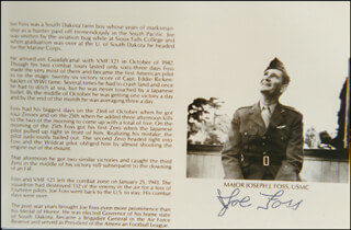 BRIGADIER GENERAL JOSEPH J. JOE FOSS - PRINTED PHOTOGRAPH SIGNED IN INK