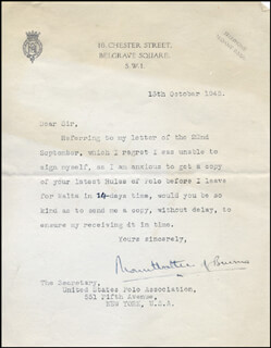 Autographs: ADMIRAL LOUIS MOUNTBATTEN - TYPED LETTER SIGNED 10/13/1948