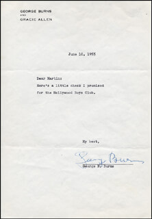 GEORGE BURNS - TYPED LETTER SIGNED 06/10/1955