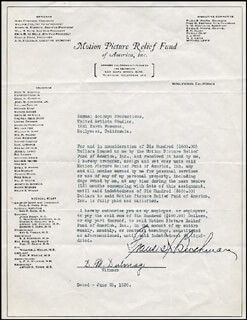 FRANCIS X. BUSHMAN - DOCUMENT SIGNED 06/26/1930