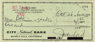 JACK LORD - AUTOGRAPHED SIGNED CHECK 10/26/1960