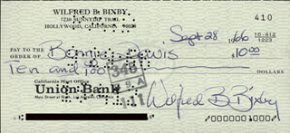 BILL BIXBY - AUTOGRAPHED SIGNED CHECK 09/28/1966