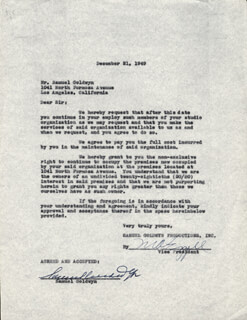 SAMUEL GOLDWYN - DOCUMENT SIGNED 12/21/1949