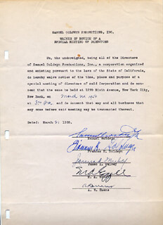 Autographs: SAMUEL GOLDWYN - DOCUMENT SIGNED 03/21/1950 CO-SIGNED BY: FRANCES GOLDWYN, JAMES A. MULVEY, M. A. EZZARD, A. R. EVENS
