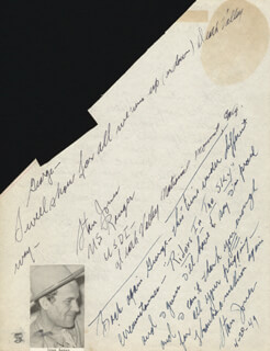 STAN JONES - AUTOGRAPH NOTE DOUBLE SIGNED 04/20/1949 CO-SIGNED BY: WILLIAM T. ALLEN