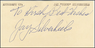 Autographs: JAY TONTO SILVERHEELS - INSCRIBED SIGNATURE