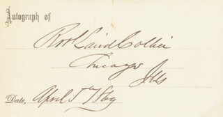 Autographs: ROBERT L. COLLIER - PRINTED CARD SIGNED IN INK 04/05/1869